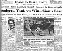 Brooklyn Eagle newspaper with headline Dodgers, Yankees Win, Giants Lose