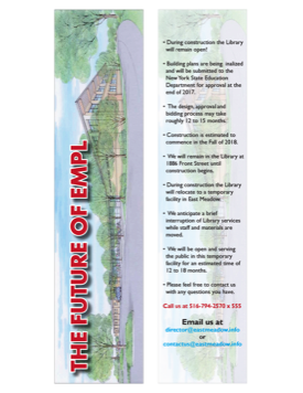 Thumbnail image of bookmark containing answers to frequently asked questions regarding the library renovation
