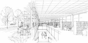 Artist's rendering of what the new library entry may look like. Section view from inside.