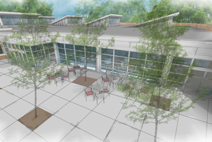 Artist's rendering of new entry plaza.