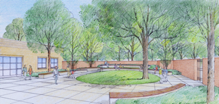 Artist's rendering of what the new outdoor reading garden might look like.