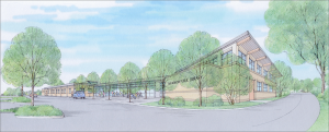 Artist's rendering of transformed library entry and new addition. View from the parking area.