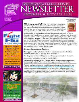 Thumbnail image of the first page of the Library's October/November 2017 newsletter containing a message from the Director regarding the renovation