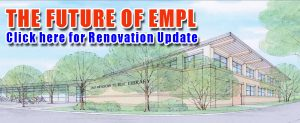 """Slide linking to library renovation info page. Test on slide reads """"The Future of EMPL, Click here for renovation update."""""""