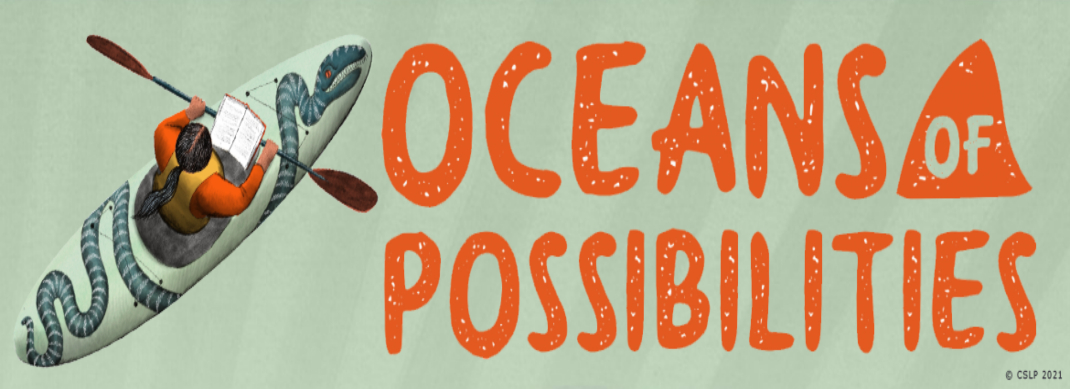 Logo for 2021 Summer Reading program - Tails and Tales. Links to online program signup for teens.