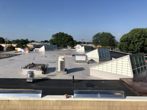 Photo of the Library roof depicting six new roof monitors.