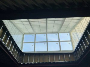 Photo of one of the Library's new roof monitors, taken from inside.