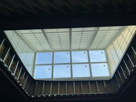 Thumbnail photo of one of the Library's new roof monitors, taken from inside.